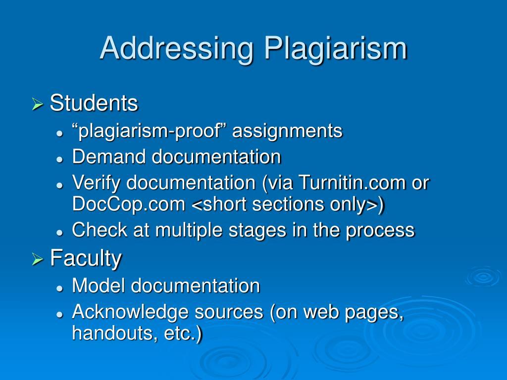 Addressing Plagiarism
