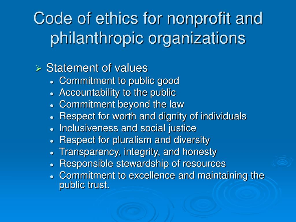 Code of ethics for nonprofit and philanthropic organizations