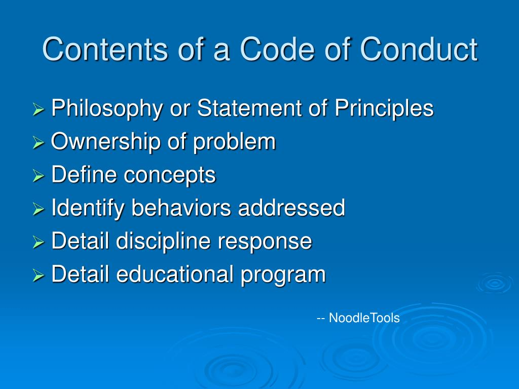 Contents of a Code of Conduct
