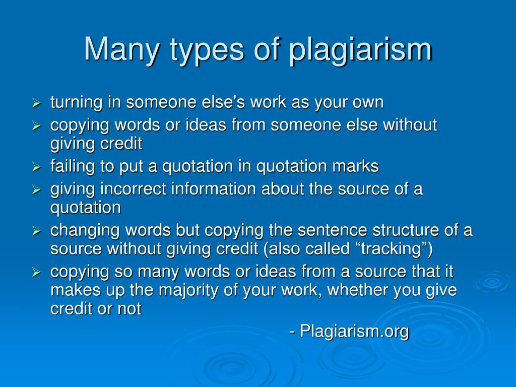 Many types of plagiarism