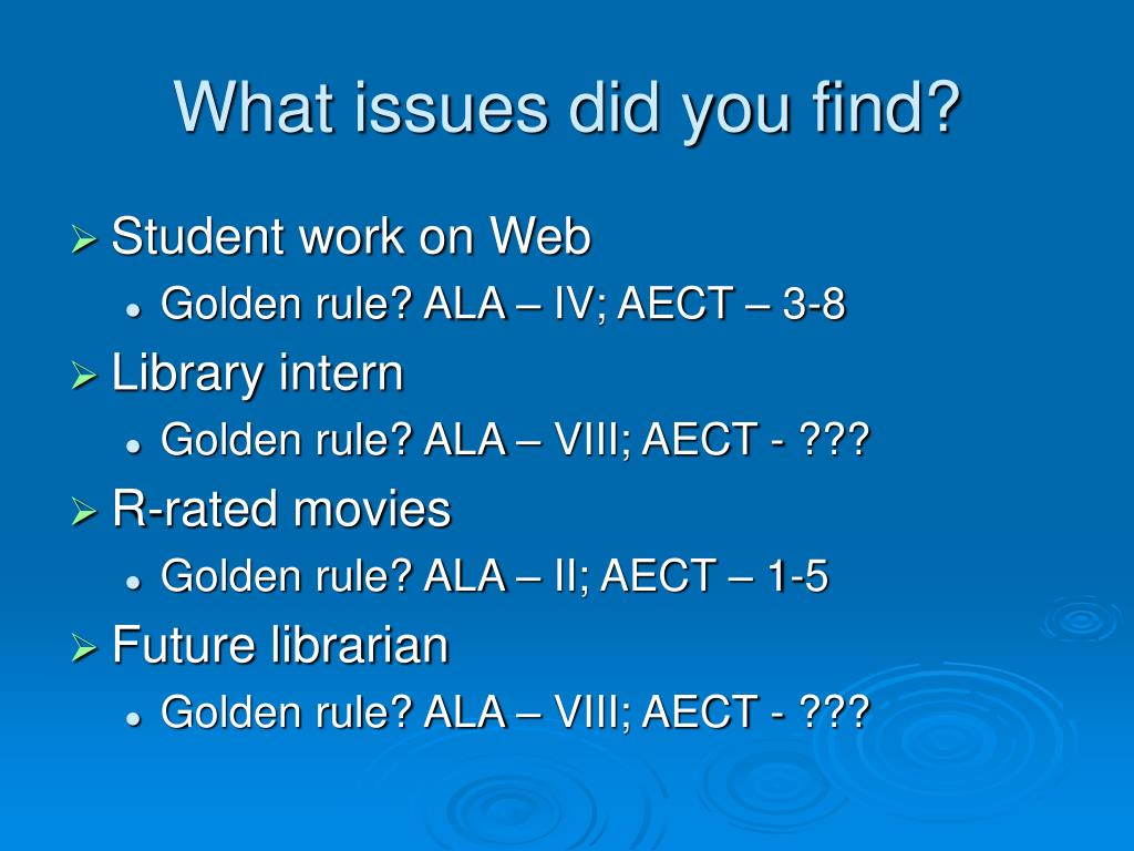 What issues did you find?