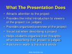 what the presentation does