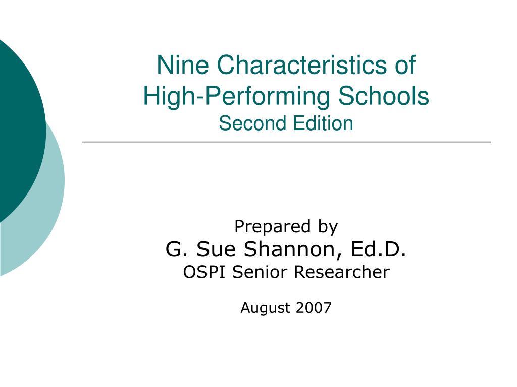 nine characteristics of high performing schools second edition l.
