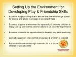 setting up the environment for developing play friendship skills