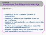 leadership foundations for effective leadership module guide 16 1