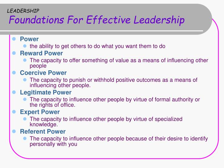 referent power in leadership Referent power is a person's ability to influence others' behavior because they like, admire, and respect the individual for example, suppose you are friends with your boss one day, she asks you to take on a special project that you do not like.