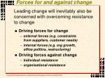 forces for and against change