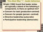one best way leader behaviour
