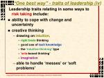 one best way traits of leadership iv