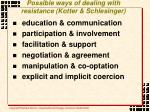 possible ways of dealing with resistance kotter schlesinger