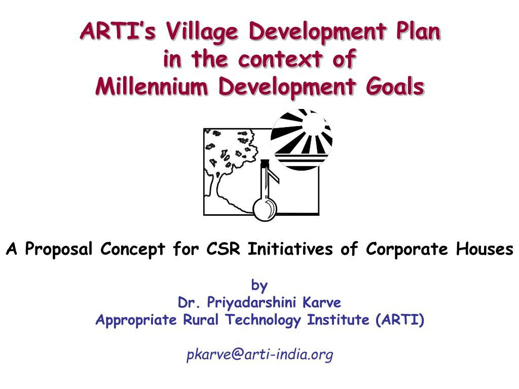 arti s village development plan in the context of millennium development goals l.