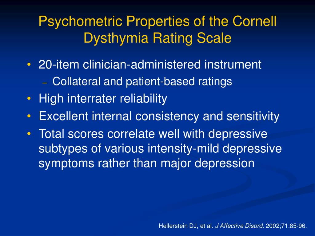 Psychometric Properties of the Cornell Dysthymia Rating Scale