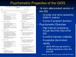 psychometric properties of the qids