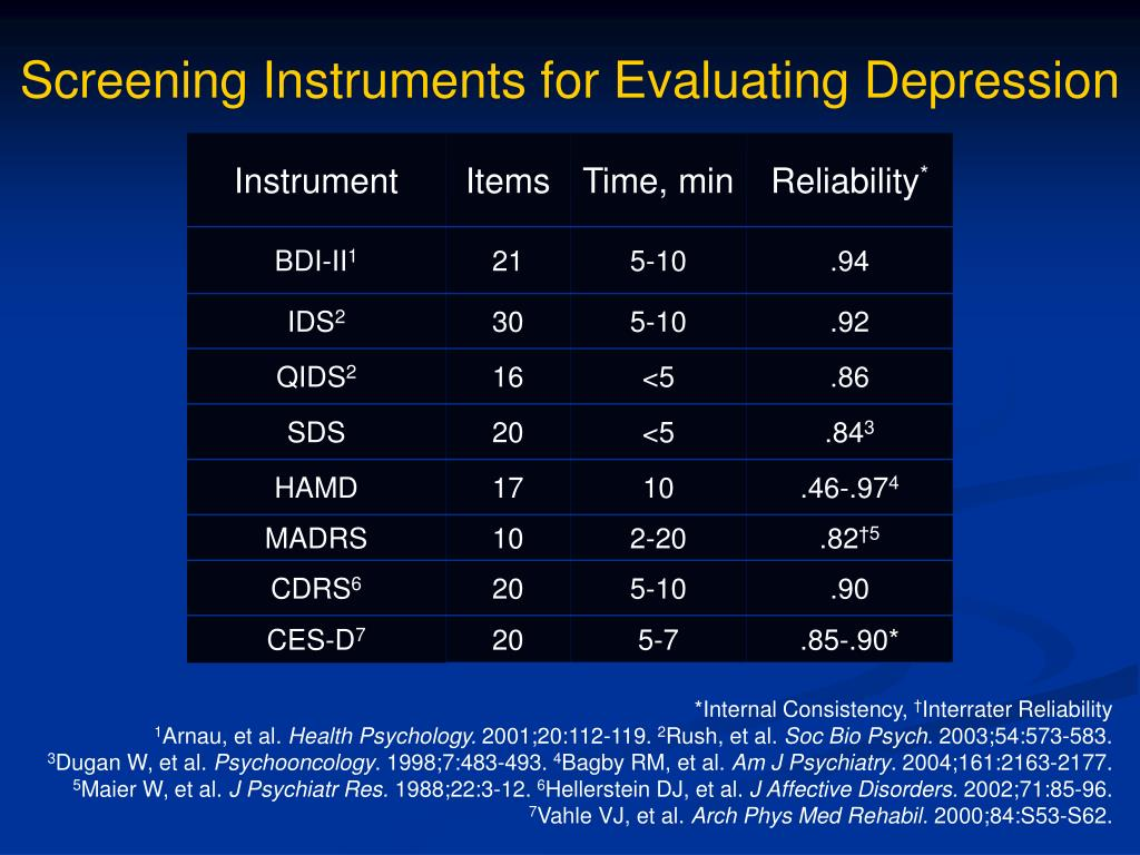 Screening Instruments for Evaluating Depression
