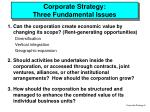 corporate strategy three fundamental issues