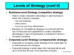 levels of strategy cont d