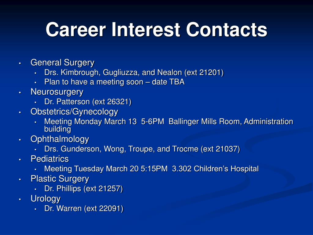 career interest contacts l.