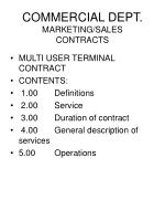 commercial dept marketing sales contracts