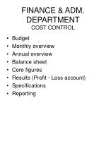 finance adm department cost control