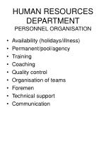 human resources department personnel organisation
