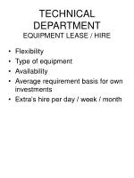 technical department equipment lease hire