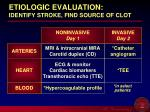 etiologic evaluation identify stroke find source of clot