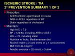 ischemic stroke tia 2 prevention summary 1 of 2