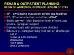 rehab outpatient planning begin on admission decrease length of stay