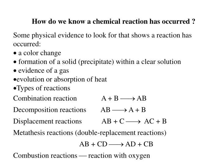 How do we know a chemical reaction has occurred