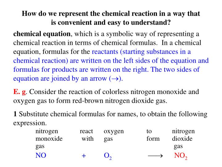 How do we represent the chemical reaction in a way that is convenient and easy to understand