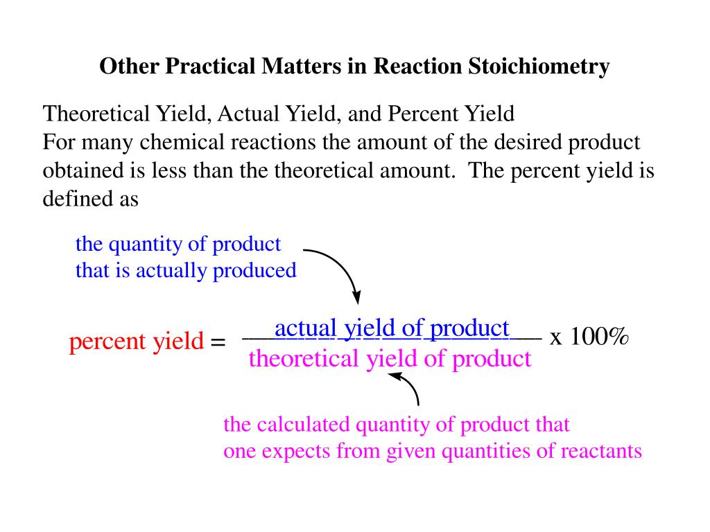 Other Practical Matters in Reaction Stoichiometry