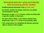 elemental behavior varies periodically with increasing atomic number