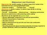 magnesium and aluminum