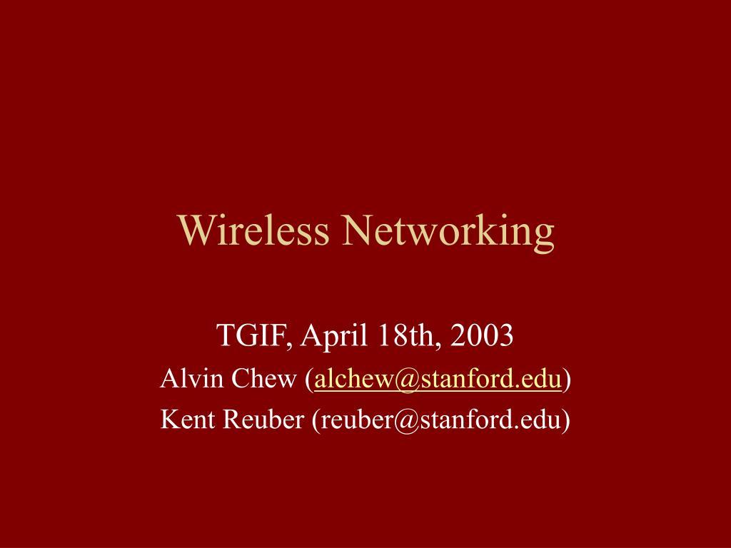 wireless networking l.