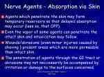 nerve agents absorption via skin
