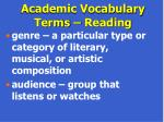 academic vocabulary terms reading