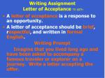 writing assignment letter of acceptance te 607h63