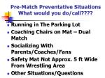 pre match preventative situations what would you do call