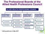 the professional boards of the allied health professions council