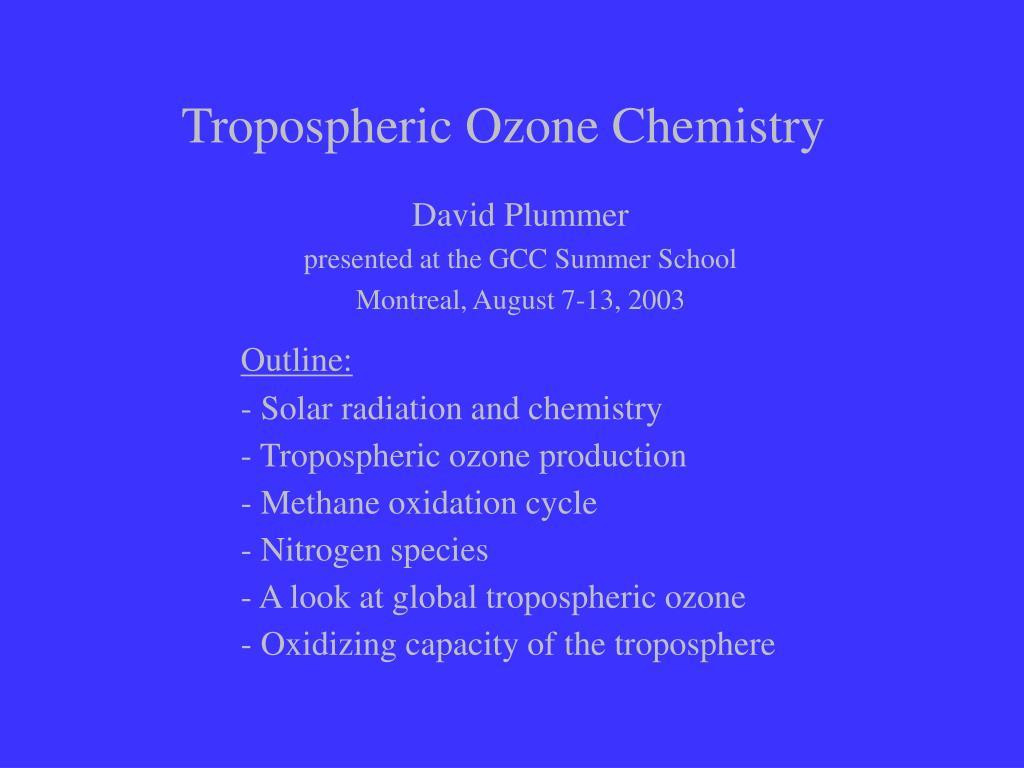 tropospheric ozone chemistry l.