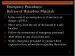 emergency procedures release of hazardous materials