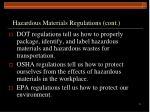 hazardous materials regulations cont
