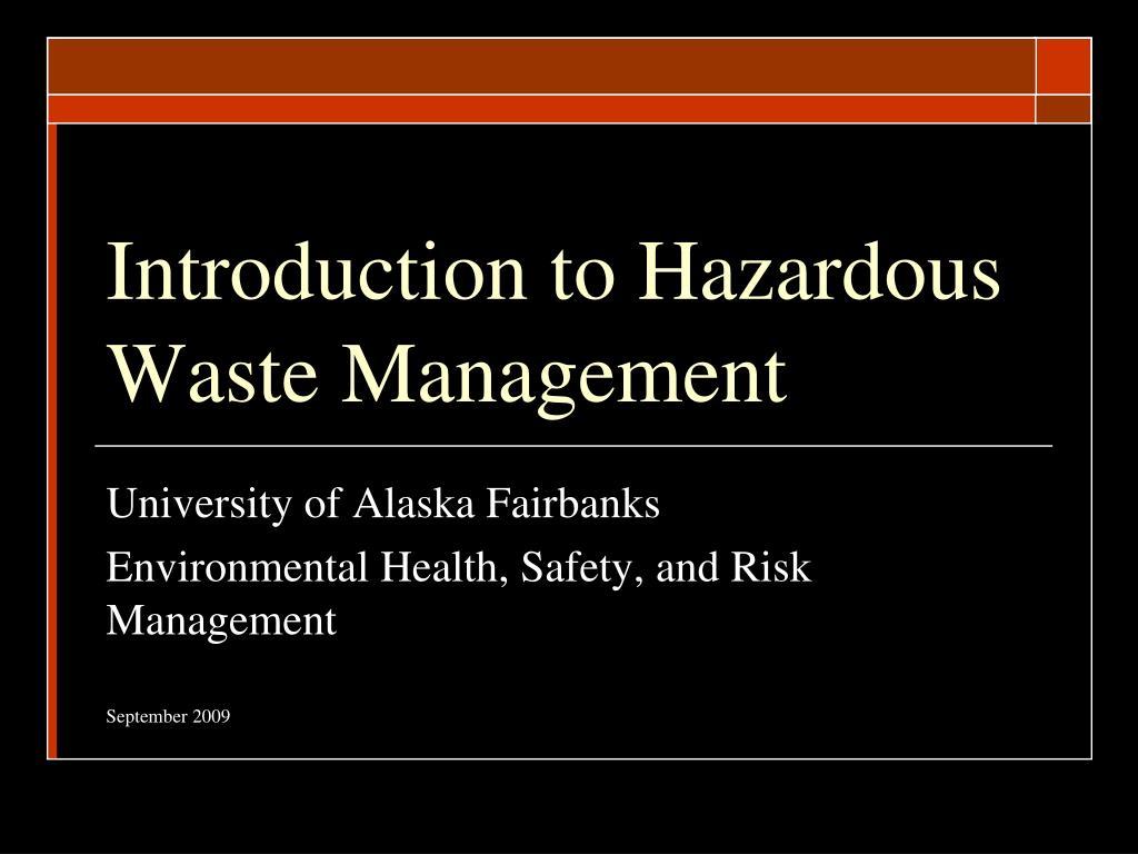 introduction to hazardous waste management l.