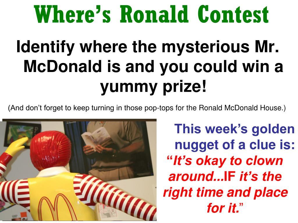 Where's Ronald Contest