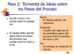 paso 2 tormenta de ideas sobre los pasos del proceso
