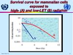 survival curve for mammalian cells exposed to high a and low let b r adiation