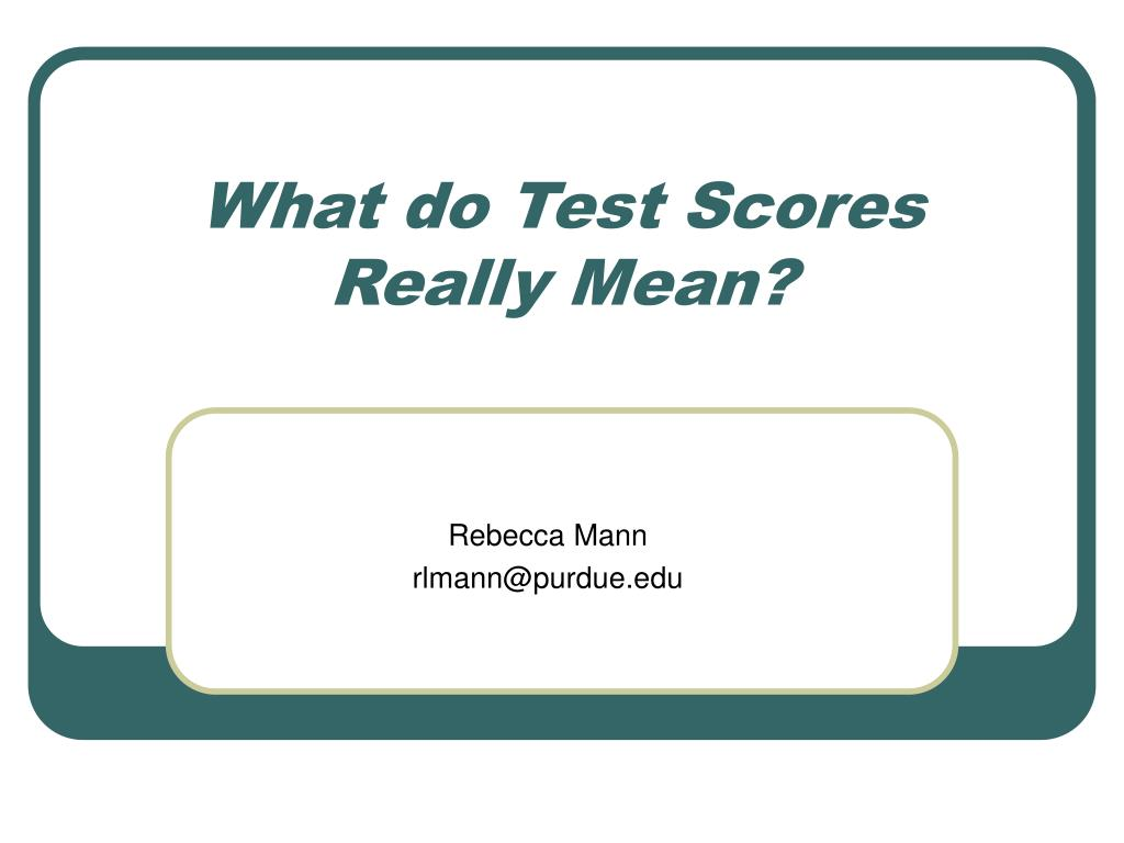what do test scores really mean l.