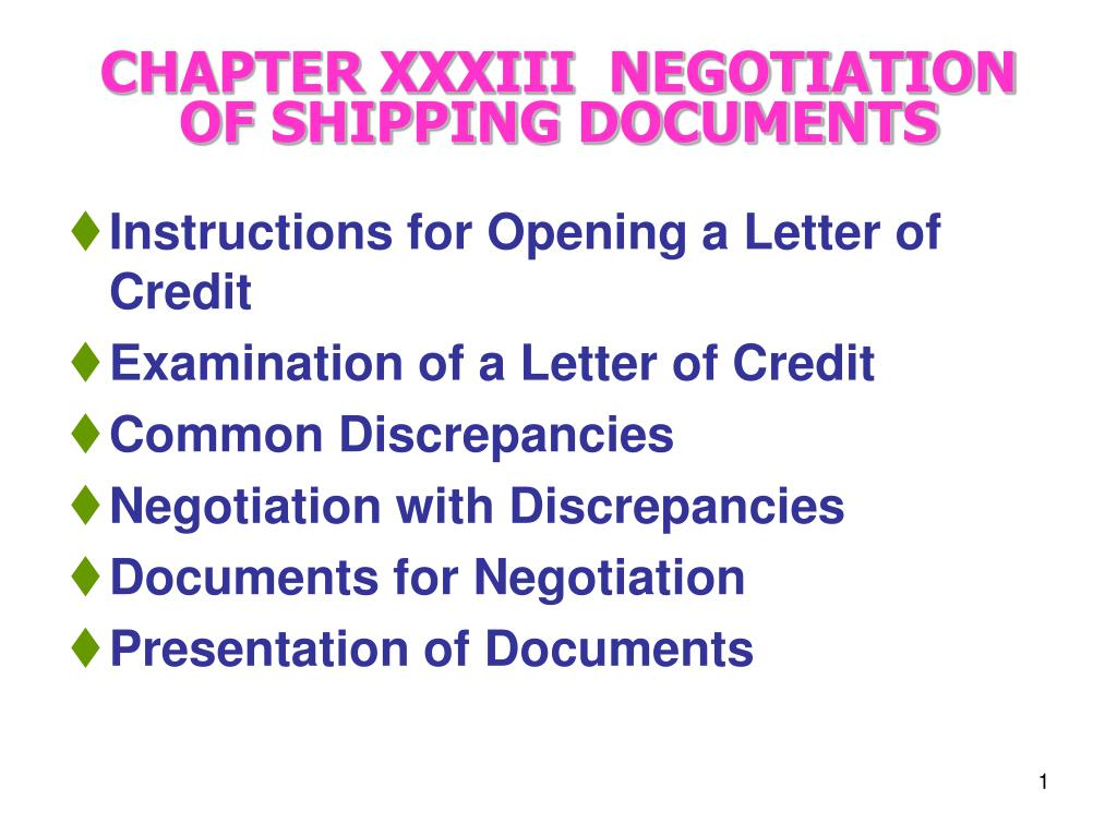 chapter xxxiii negotiation of shipping documents l.