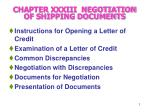 chapter xxxiii negotiation of shipping documents