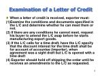 examination of a letter of credit